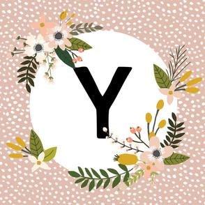 Blush Sprigs and Blooms Monogram Blanket // Y