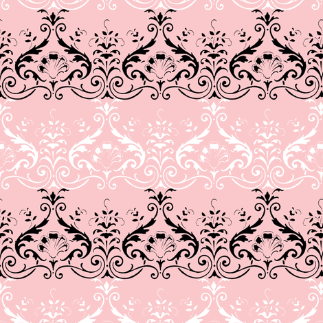 Brighton Damask ~ Black and White on Dauphine fabric by peacoquettedesigns on Spoonflower - custom fabric
