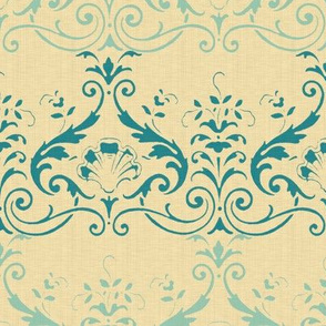 Brighton Damask ~ Vicomte and Chateau on Trianon Cream ~ Linen Luxe
