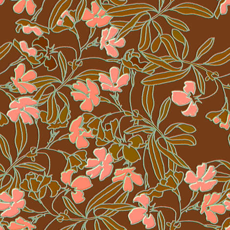 Garden Floral Earth tone fabric by joanmclemore on Spoonflower - custom fabric