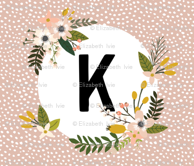 Blush Sprigs and Blooms Monogram Blanket // K
