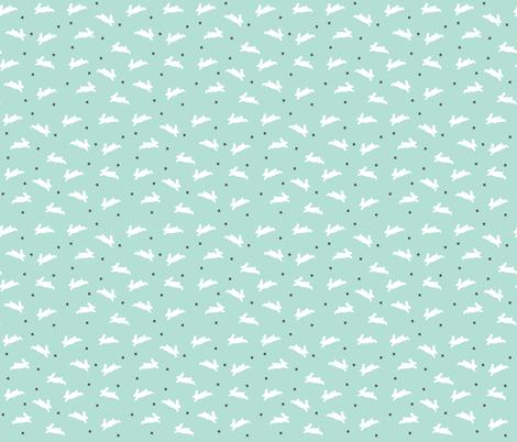 bunnies aqua fabric by ivieclothco on Spoonflower - custom fabric