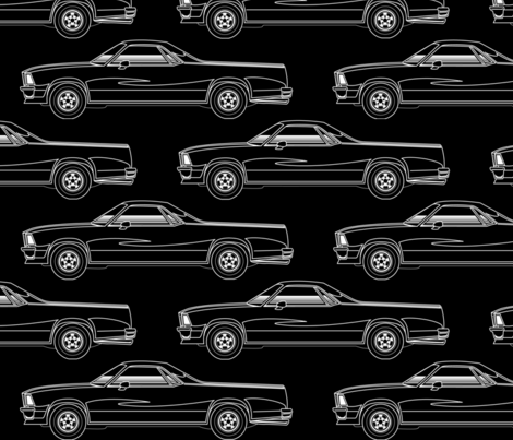 El Camino Royal Black and White fabric by flames_artworks on Spoonflower - custom fabric