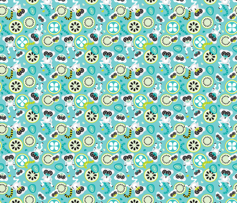 Lemurs in lime and turquoise illustration for kids fabric by littlesmilemakers on Spoonflower - custom fabric