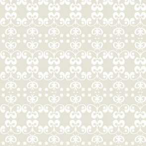 arabesque in white and pale taupe