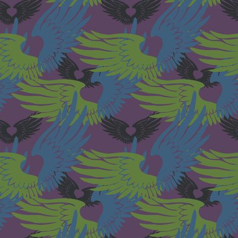 Heartwings II: Purple, Blue, Green2 (halfscale) fabric by penina on Spoonflower - custom fabric