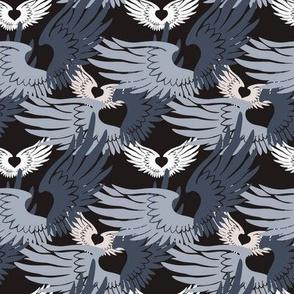 Camo Heartwings II: Silvery Grays & Beige on Dark Gray (halfscale)