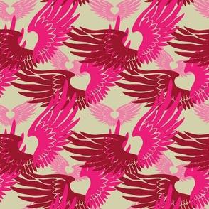 Heartwings II: Pink, Beige (halfscale)
