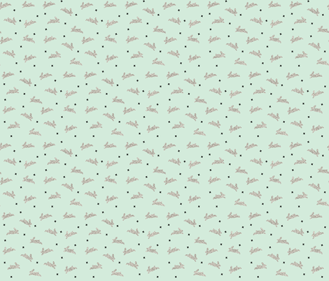 bunnies silver sparkle on mint fabric by ivieclothco on Spoonflower - custom fabric
