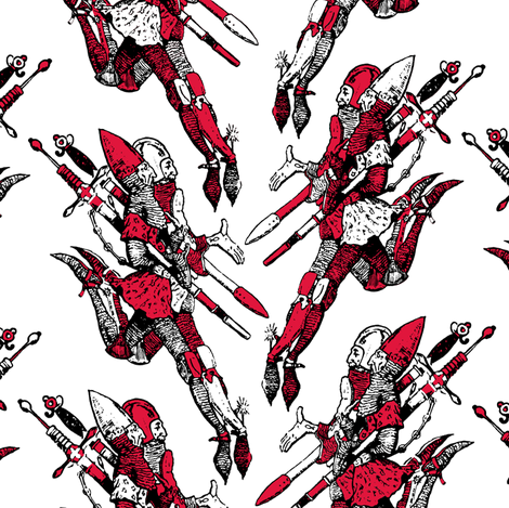 Travelers with Red fabric by pond_ripple on Spoonflower - custom fabric