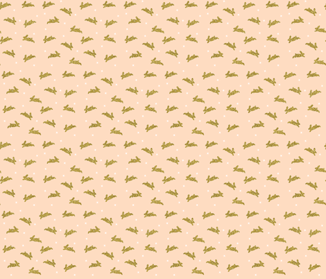 bunnies gold sparkle v. III on blush fabric by ivieclothco on Spoonflower - custom fabric