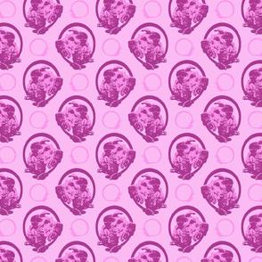 Collared Irish Terrier portraits - pink