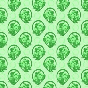 Collared Irish Terrier portraits - green