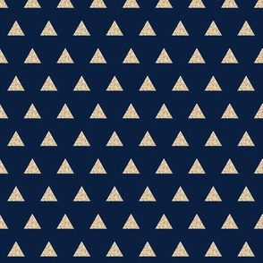 gold sparkle v. I triangles on navy // small