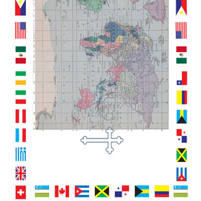 World Map With Flags Alter Cloth