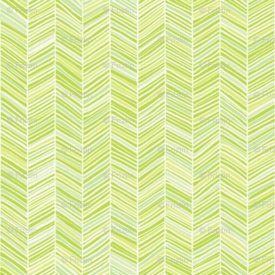 Herringbone Hues of Green - Small scale by Friztin