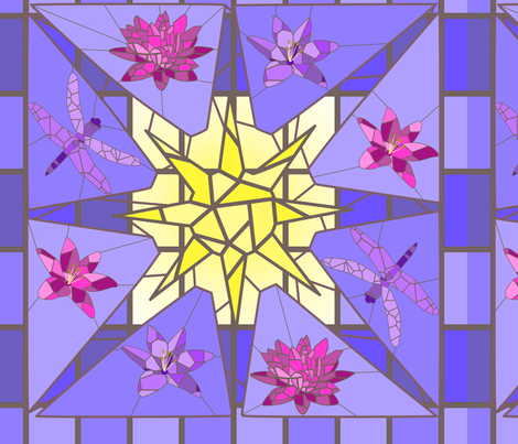 Stained glass lilies fabric by alexsan on Spoonflower - custom fabric
