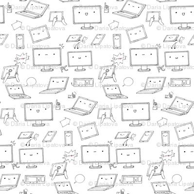 kawaii computer pattern