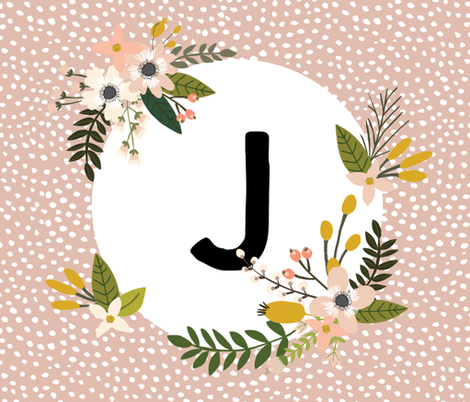 Blush Sprigs and Blooms Monogram Blanket // J fabric by ivieclothco on Spoonflower - custom fabric