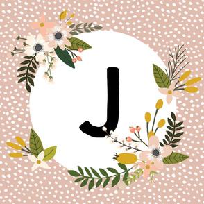 Blush Sprigs and Blooms Monogram Blanket // J