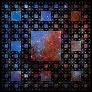 Sierpinski Carpet pillow panel - galaxy