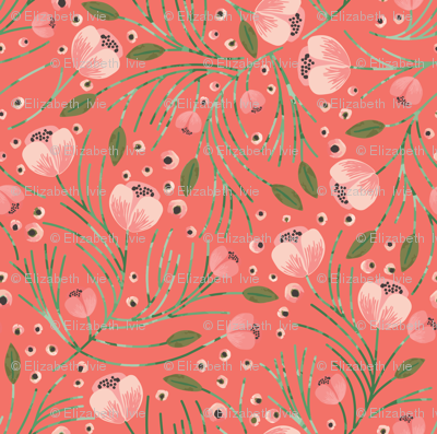 winter floral // pine on tangerine