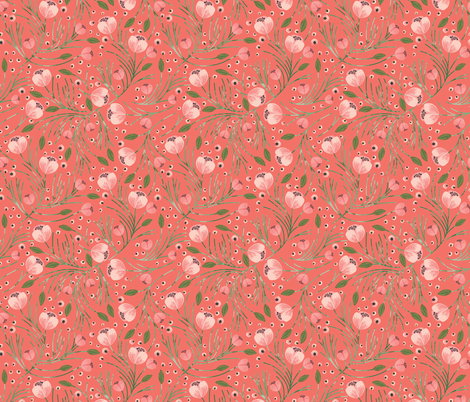 winter floral // pine on tangerine fabric by ivieclothco on Spoonflower - custom fabric