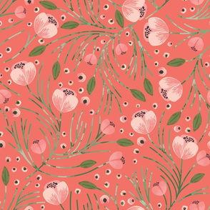 winter floral // pine on tangerine