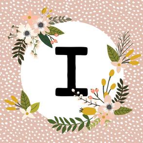 Blush Sprigs and Blooms Monogram Blanket // I