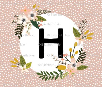 Blush Sprigs and Blooms Monogram Blanket // H