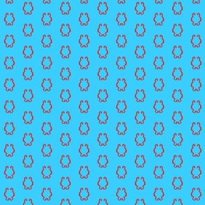 Red Squiggles on a Bright Blue Background