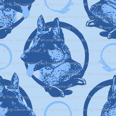 Collared German Shepherd dog portraits - blue