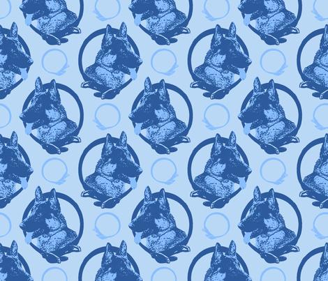 Collared German Shepherd dog portraits - blue fabric by rusticcorgi on Spoonflower - custom fabric