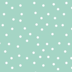 polka dot white on mint