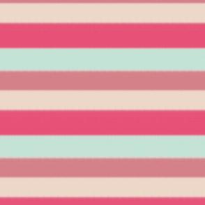 Mint Green and Coral Pink Cream Boho Nautical Stripe