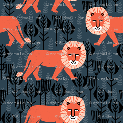 Safari Lion Block Print Lion Kids Design Fabric
