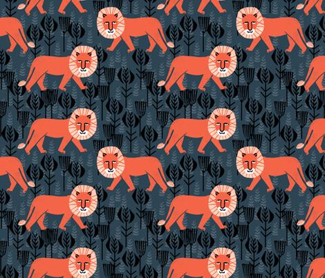 safari lion // block print lion kids design fabric by andrea_lauren on Spoonflower - custom fabric