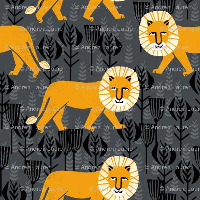 Safari Lion - Turmeric/Charcoal by Andrea Lauren