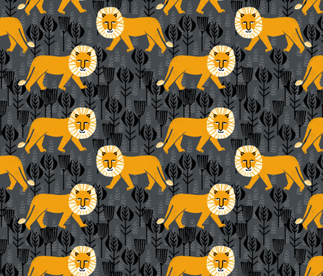 Safari Lion - Turmeric/Charcoal by Andrea Lauren fabric by andrea_lauren on Spoonflower - custom fabric