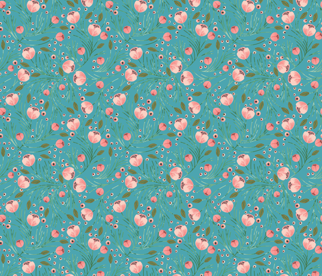 RETIRING 8/1/17 winter floral // pine on juniper fabric by ivieclothco on Spoonflower - custom fabric