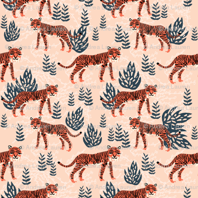 safari tiger // blush coral tiger girls room nursery decor little girls fabric