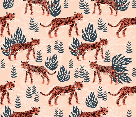 safari tiger // blush coral tiger girls room nursery decor little girls fabric fabric by andrea_lauren on Spoonflower - custom fabric