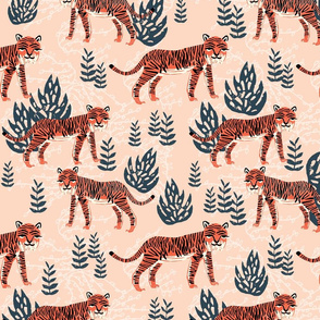 safari tiger // blush coral tiger girls room nursery decor little girls fabric