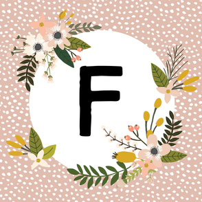 Blush Sprigs and Blooms Monogram Blanket // F