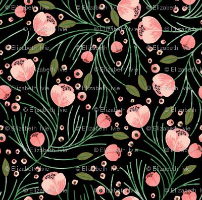 RETIRING 8/1/17 winter floral // pine on black