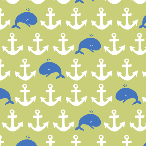 anchors + whales (blue + green) fabric by pattyryboltdesigns on Spoonflower - custom fabric