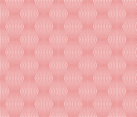 Red On White Warped Grid fabric by technoplastique on Spoonflower - custom fabric