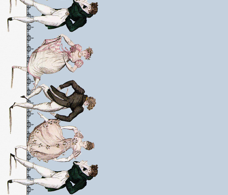 Pride and Prejudice ~ Counterdanse ~ Border Print ~ Versailles Blue fabric by peacoquettedesigns on Spoonflower - custom fabric