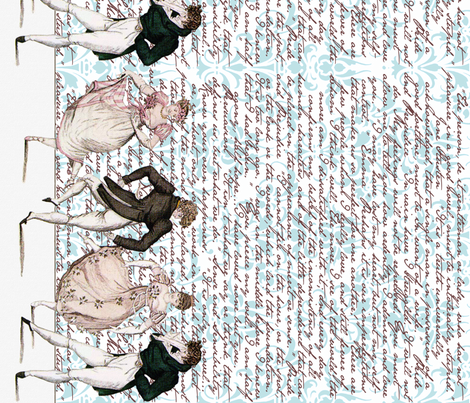 Pride and Prejudice ~ Counterdanse ~ Border Print ~ Jane Austen Quotes Damask fabric by peacoquettedesigns on Spoonflower - custom fabric