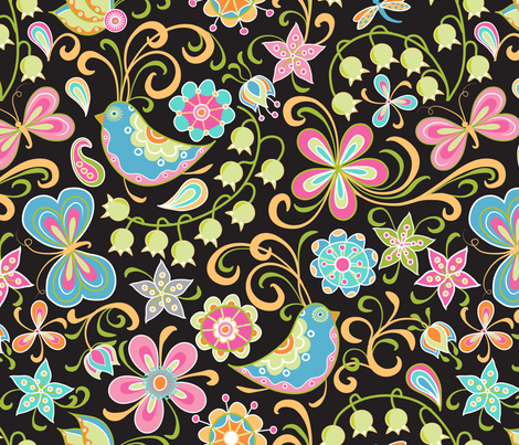 Running amok in the lilies of the valley fabric by vo_aka_virginiao on Spoonflower - custom fabric